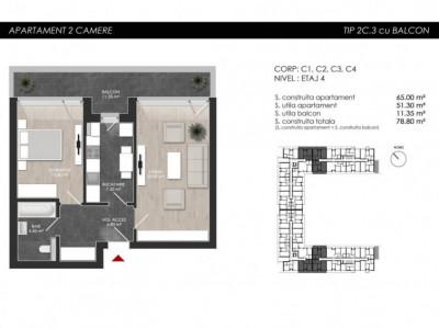 Apartament cu 2 camere tip 2C3 Balcon - Atria Urban Resort